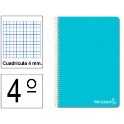 Cuaderno espiral tapa dura liderpapel serie witty en formato 4º, 80 hj. 75 grs/m². 4x4 c/m. color azul.