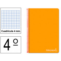 Cuaderno espiral tapa dura liderpapel serie witty en formato 4º, 80 hj. 75 grs/m². 4x4 c/m. color naranja.