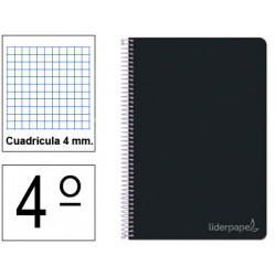 Cuaderno espiral tapa dura liderpapel serie witty en formato 4º, 80 hj. 75 grs/m². 4x4 c/m. color negro.