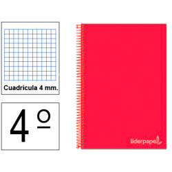 Cuaderno espiral tapa dura liderpapel serie witty en formato 4º, 80 hj. 75 grs/m². 4x4 c/m. color rojo.