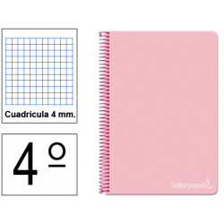 Cuaderno espiral tapa dura liderpapel serie witty en formato 4º, 80 hj. 75 grs/m². 4x4 c/m. color rosa.