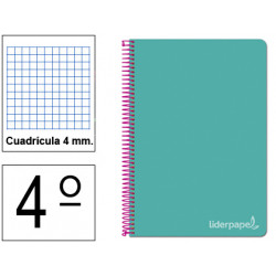 Cuaderno espiral tapa dura liderpapel serie witty en formato 4º, 80 hj. 75 grs/m². 4x4 c/m. color turquesa.