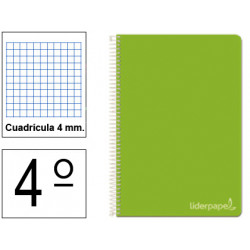 Cuaderno espiral tapa dura liderpapel serie witty en formato 4º, 80 hj. 75 grs/m². 4x4 c/m. color verde.