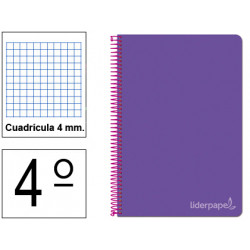 Cuaderno espiral tapa dura liderpapel serie witty en formato 4º, 80 hj. 75 grs/m². 4x4 c/m. color violeta.