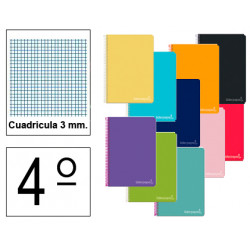 Cuaderno espiral tapa dura liderpapel serie witty en formato 4º, 80 hj. 75 grs/m². 3x3 c/m. colores surtidos.