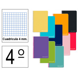 Cuaderno espiral tapa dura liderpapel serie witty en formato 4º, 80 hj. 75 grs/m². 4x4 c/m. colores surtidos.