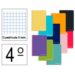Cuaderno espiral tapa dura liderpapel serie witty en formato 4º, 80 hj. 75 grs/m². 5x5 c/m. colores surtidos.