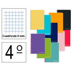 Cuaderno espiral tapa dura liderpapel serie witty en formato 4º, 80 hj. 75 grs/m². 6x6 c/m. colores surtidos.