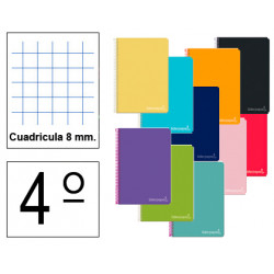 Cuaderno espiral tapa dura liderpapel serie witty en formato 4º, 80 hj. 75 grs/m². 8x8 c/m. colores surtidos.