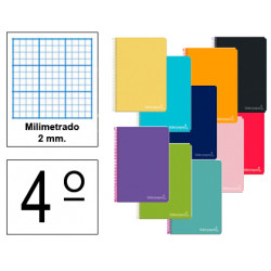 Cuaderno espiral tapa dura liderpapel serie witty en formato 4º, 80 hj. 75 grs/m². milimetrado 2 mm. s/m. colores surtidos.
