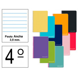 Cuaderno espiral tapa dura liderpapel serie witty en formato 4º, 80 hj. 75 grs/m². pauta ancha 3,5 mm. c/m. colores surtidos.