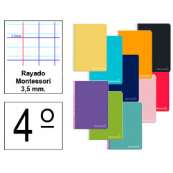 Cuaderno espiral tapa dura liderpapel serie witty en formato 4º, 80 hj. 75 grs/m². rayado montessori 3,5 mm. c/m.