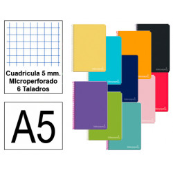 Cuaderno espiral tapa dura liderpapel serie witty en formato din a-5, 140 hj. 75 grs/m². 5x5 c/m. microperforado, 6 taladros.