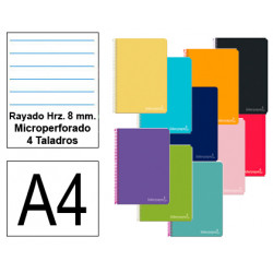 Cuaderno espiral tapa dura liderpapel serie witty en formato din a-4, 140 hj. 75 grs/m². rayado hrz. c/m. micro. 4 taladros.