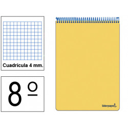 Bloc espiral tapa dura liderpapel serie witty en formato 8º, 80 hj. 75 grs/m². 4x4 c/m. colores surtidos.