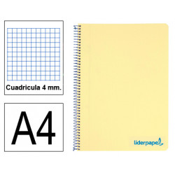 Cuaderno espiral tapa de polipropileno liderpapel serie wonder en formato din a-4, 80 hj. 90 grs/m². 4x4 c/m. color amarillo.