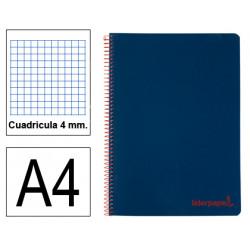 Cuaderno espiral tapa de polipropileno liderpapel serie wonder en formato din a-4, 80 hj. 90 grs/m². 4x4 c/m. color azul marino.