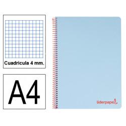Cuaderno espiral tapa de polipropileno liderpapel serie wonder en formato din a-4, 80 hj. 90 grs/m². 4x4 c/m. color celeste.