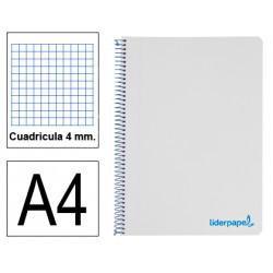 Cuaderno espiral tapa de polipropileno liderpapel serie wonder en formato din a-4, 80 hj. 90 grs/m². 4x4 c/m. color gris.
