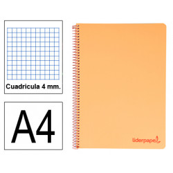 Cuaderno espiral tapa de polipropileno liderpapel serie wonder en formato din a-4, 80 hj. 90 grs/m². 4x4 c/m. color naranja.