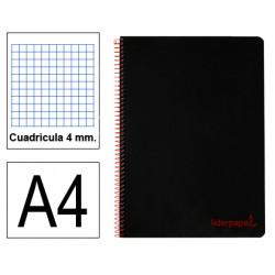 Cuaderno espiral tapa de polipropileno liderpapel serie wonder en formato din a-4, 80 hj. 90 grs/m². 4x4 c/m. color negro.