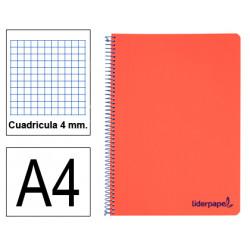 Cuaderno espiral tapa de polipropileno liderpapel serie wonder en formato din a-4, 80 hj. 90 grs/m². 4x4 c/m. color rojo.