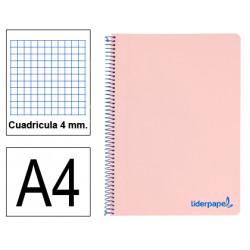 Cuaderno espiral tapa de polipropileno liderpapel serie wonder en formato din a-4, 80 hj. 90 grs/m². 4x4 c/m. color rosa.