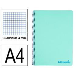 Cuaderno espiral tapa de polipropileno liderpapel serie wonder en formato din a-4, 80 hj. 90 grs/m². 4x4 c/m. color verde.