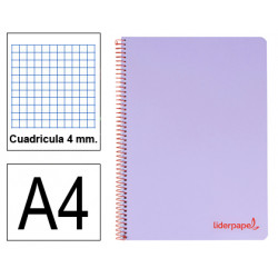 Cuaderno espiral tapa de polipropileno liderpapel serie wonder en formato din a-4, 80 hj. 90 grs/m². 4x4 c/m. color violeta.