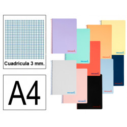 Cuaderno espiral tapa de polipropileno liderpapel serie wonder en formato din a-4, 80 hj. 90 grs/m². 3x3 c/m. colores surtidos.