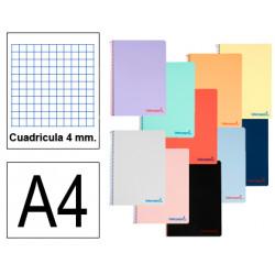 Cuaderno espiral tapa de plástico liderpapel serie imagine en formato fº, 80 hj. 60 grs. 4x4 c/m. 8 colores surtidos.