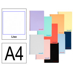Cuaderno espiral tapa de polipropileno liderpapel serie wonder en formato din a-4, 80 hj. 90 grs/m². liso s/m. colores surtidos.