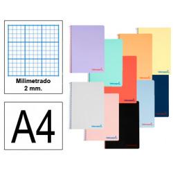 Cuaderno espiral tapa de polipropileno liderpapel serie wonder en formato din a-4, 80 hj. 90 grs. milimetrado 2 mm. s/m.
