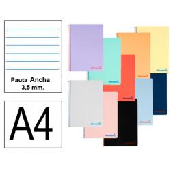 Cuaderno espiral tapa de polipropileno liderpapel serie wonder en formato din a-4, 80 hj. 90 grs/m². pauta ancha 3,5 mm.