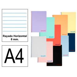 Cuaderno espiral tapa de polipropileno liderpapel serie wonder en formato din a-4, 80 hj. 90 grs/m². rayado hrz. 8 mm. c/m.