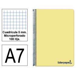 Cuaderno espiral tapa de polipropileno liderpapel serie wonder en formato din a-7, 100 hj. 90 grs/m². 5x5 c/m. color amarillo.