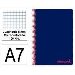 Cuaderno espiral tapa de polipropileno liderpapel serie wonder en formato din a-7, 100 hj. 90 grs/m². 5x5 c/m. color azul.
