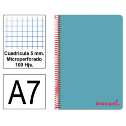 Cuaderno espiral tapa de polipropileno liderpapel serie wonder en formato din a-7, 100 hj. 90 grs/m². 5x5 c/m. color celeste.