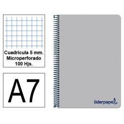 Cuaderno espiral tapa de polipropileno liderpapel serie wonder en formato din a-7, 100 hj. 90 grs/m². 5x5 c/m. color gris.