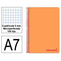 Cuaderno espiral tapa de polipropileno liderpapel serie wonder en formato din a-7, 100 hj. 90 grs/m². 5x5 c/m. color naranja.