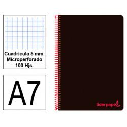 Cuaderno espiral tapa de polipropileno liderpapel serie wonder en formato din a-7, 100 hj. 90 grs/m². 5x5 c/m. color negro.