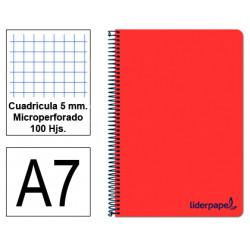 Cuaderno espiral tapa de polipropileno liderpapel serie wonder en formato din a-7, 100 hj. 90 grs/m². 5x5 c/m. color rojo.