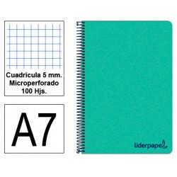 Cuaderno espiral tapa de polipropileno liderpapel serie wonder en formato din a-7, 100 hj. 90 grs/m². 5x5 c/m. color verde.