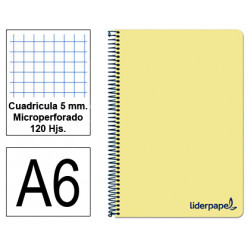 Cuaderno espiral tapa de polipropileno liderpapel serie wonder en formato din a-6, 120 hj. 90 grs/m². 5x5 c/m. color amarillo.
