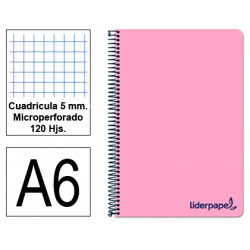 Cuaderno espiral tapa de polipropileno liderpapel serie wonder en formato din a-6, 120 hj. 90 grs/m². 5x5 c/m. color rosa.