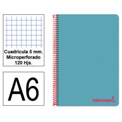 Cuaderno espiral tapa de polipropileno liderpapel serie wonder en formato din a-6, 120 hj. 90 grs/m². 5x5 c/m. color celeste.