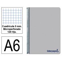 Cuaderno espiral tapa de polipropileno liderpapel serie wonder en formato din a-6, 120 hj. 90 grs/m². 5x5 c/m. color gris.