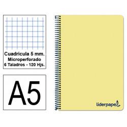 Cuaderno espiral tapa de polipropileno liderpapel serie wonder en formato din a-5, 120 hj. 90 grs/m². 5x5 c/m. color amarillo.