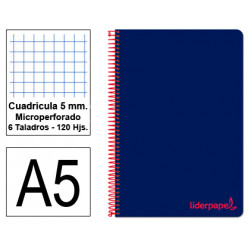 Cuaderno espiral tapa de polipropileno liderpapel serie wonder en formato din a-5, 120 hj. 90 grs/m². 5x5 c/m. color azul.