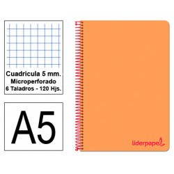 Cuaderno espiral tapa de polipropileno liderpapel serie wonder en formato din a-5, 120 hj. 90 grs/m². 5x5 c/m. color naranja.